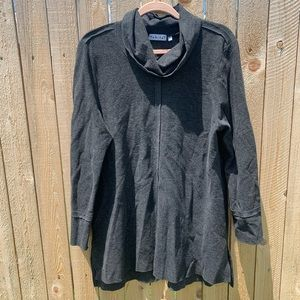 HABITAT | Charcoal Gray Seam Out Cowl Neck Tunic